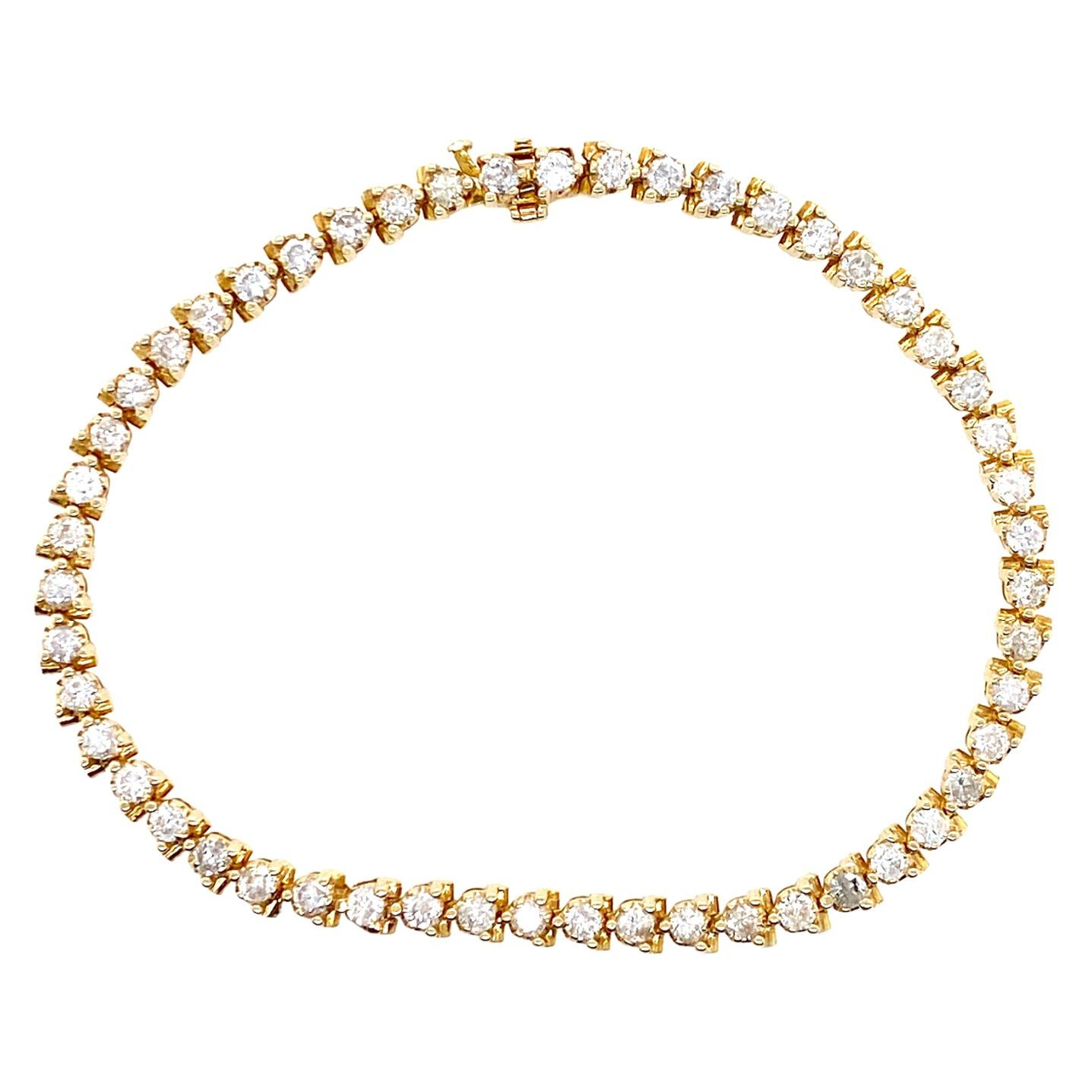 2.50 Carat Diamond Tennis Bracelet 14 Karat Yellow Gold