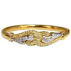 2.50 Carat Diamonds Double Loop Link Bangle Bracelet 14 Karat