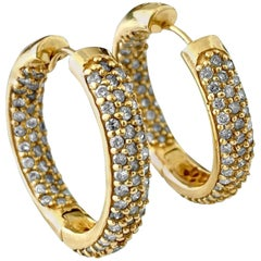 2.50 Carat Diamonds Hoop Earrings in Yellow Gold