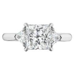2.50 Carat DSI1 Princess Cut GIA Cert. with Trillions Platinum Ring