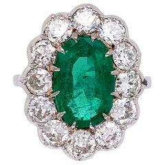 2.50 Carat Emerald and Diamond Palladium Cocktail Ring Estate Fine Jewelry