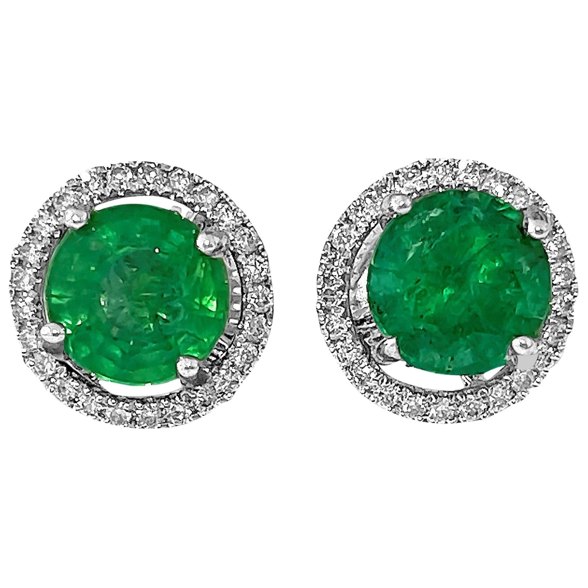 2.50 Carat Emerald Diamond Jacket Stud Earrings