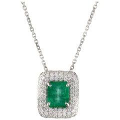 2.50 Carat Emerald Pendant with Pave Diamonds