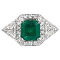 Alexander 2.50 Carat Emerald with Diamonds Ring 18 Karat Gold