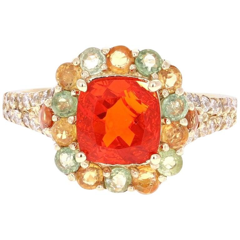 2.50 Carat Fire Opal Sapphire Diamond 14 Karat Yellow Gold Cocktail Ring For Sale