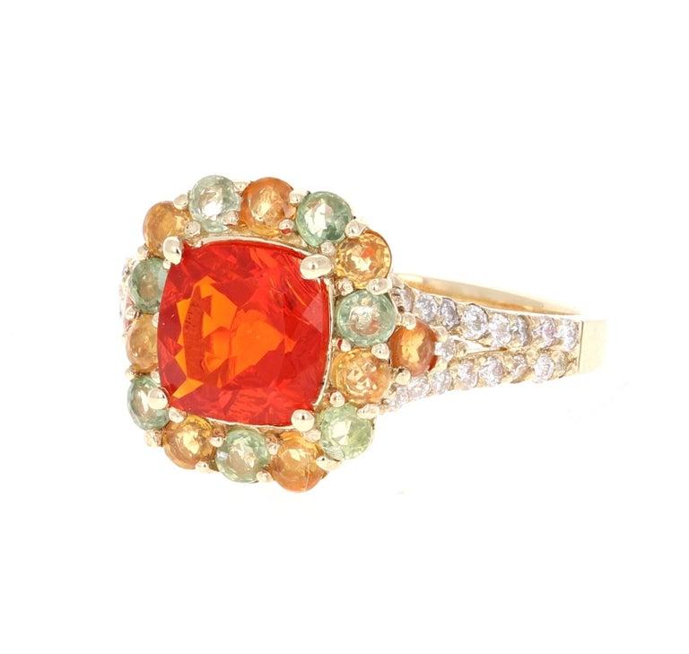 Modern 2.50 Carat Fire Opal Sapphire Diamond 14 Karat Yellow Gold Cocktail Ring For Sale