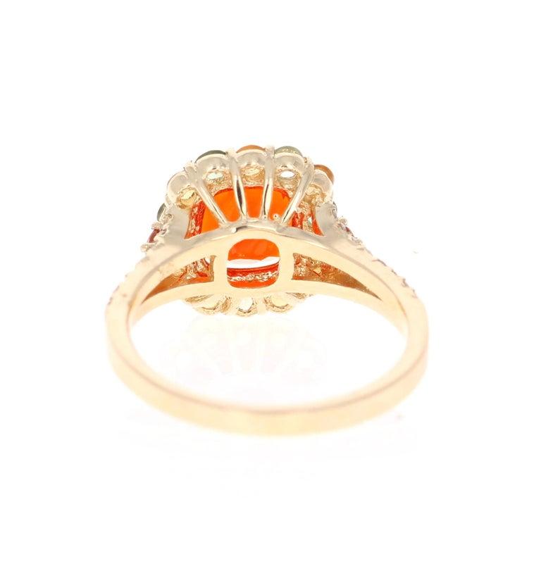 Cushion Cut 2.50 Carat Fire Opal Sapphire Diamond 14 Karat Yellow Gold Cocktail Ring For Sale