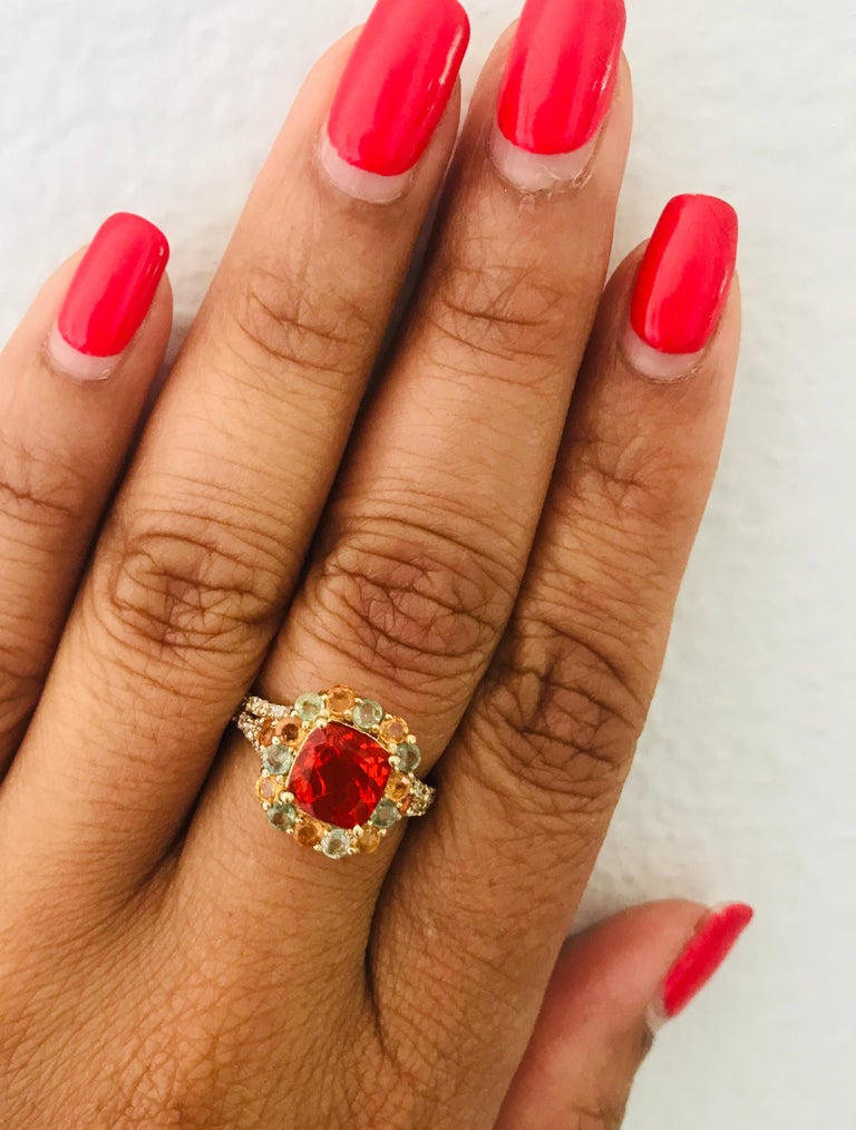2.50 Carat Fire Opal Sapphire Diamond 14 Karat Yellow Gold Cocktail Ring In New Condition For Sale In San Dimas, CA