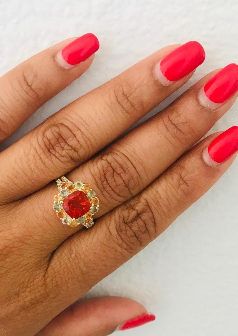 Women's 2.50 Carat Fire Opal Sapphire Diamond 14 Karat Yellow Gold Cocktail Ring For Sale