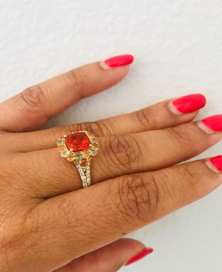 2.50 Carat Fire Opal Sapphire Diamond 14 Karat Yellow Gold Cocktail Ring For Sale 1