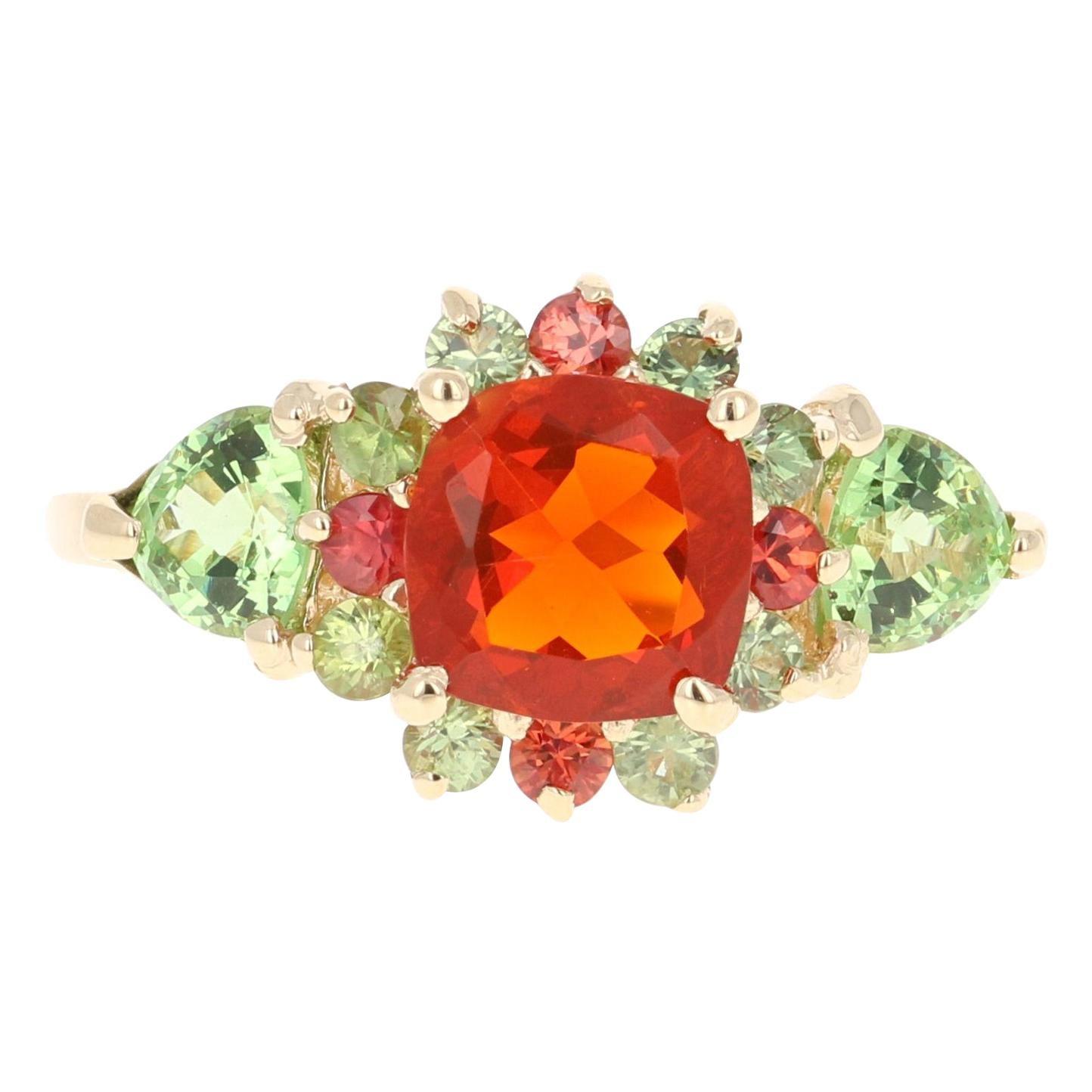 2.50 Carat Fire Opal Tsavorite Sapphire 14 Karat Yellow Gold Engagement Ring