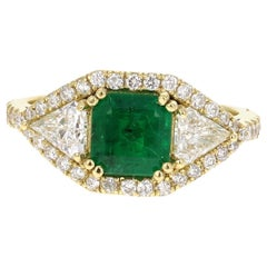 2.50 Carat GIA Certified Emerald and Diamond 18 Karat Yellow Gold Bridal Ring