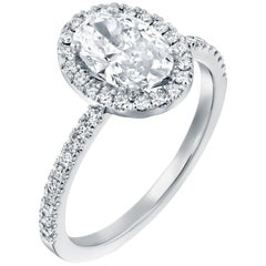 2.50 Carat GIA Oval Halo Diamond Ring, 18 Karat White Gold Oval Cut Ring