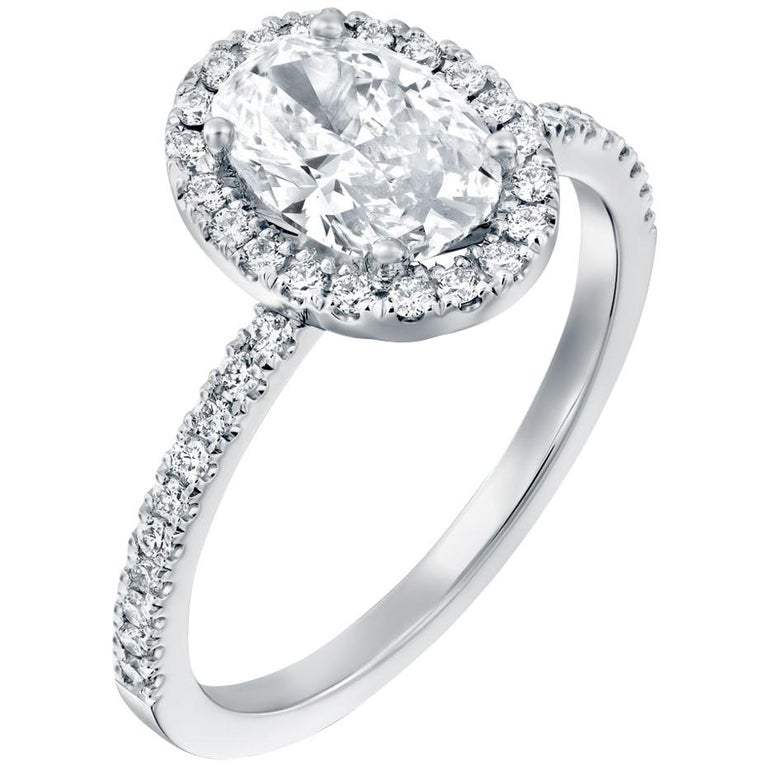 2.50 Carat GIA Oval Halo Diamond Ring, 18 Karat White Gold Oval Cut Ring For Sale