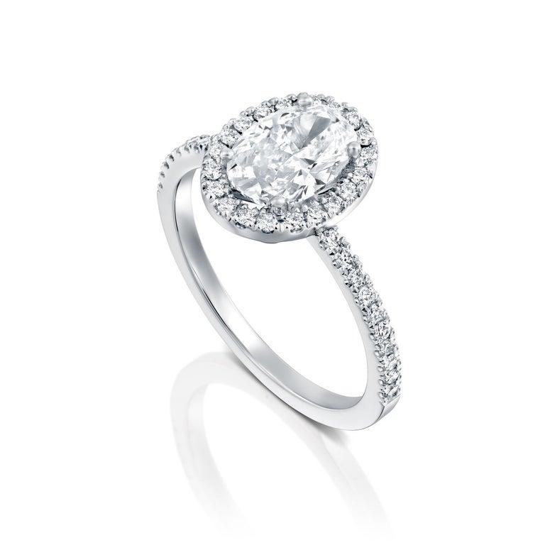 Art Deco 2.50 Carat GIA Oval Halo Diamond Ring, 18 Karat White Gold Oval Cut Ring For Sale