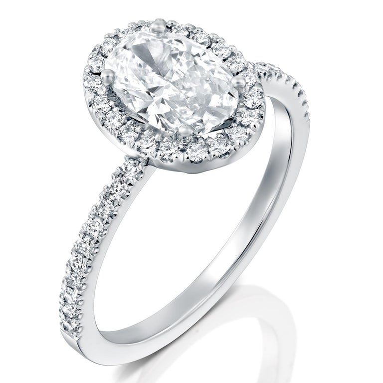 2.50 Carat GIA Oval Halo Diamond Ring, 18 Karat White Gold Oval Cut Ring In New Condition For Sale In New York, NY