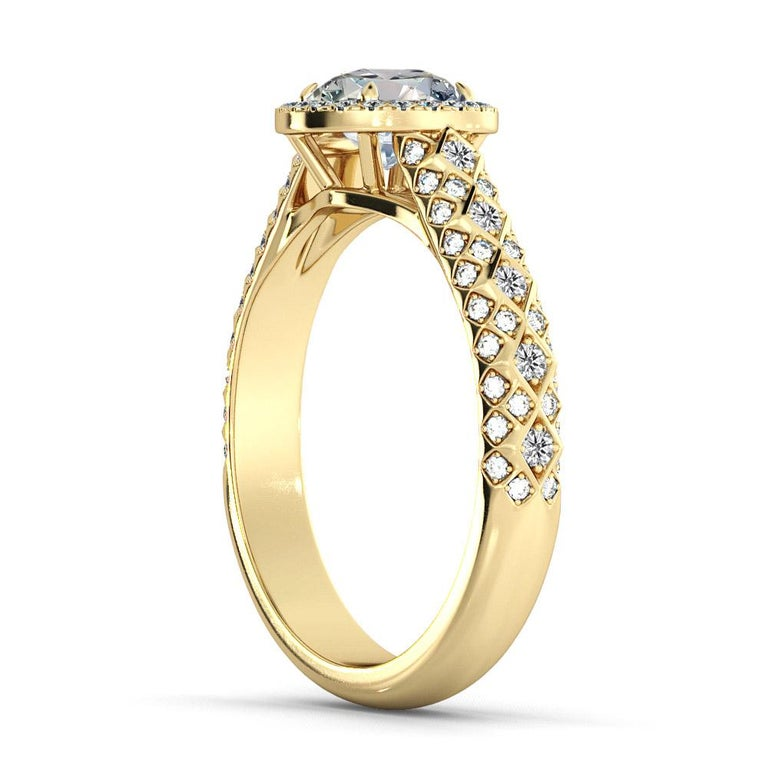 Beautiful solitaire with accents style GIA certified diamond engagement ring. Ring features a 2 carat round cut 100% eye clean natural diamond of F-G color and VS2-SI1 clarity and it is surrounded by 100 smaller natural diamonds of approx. 0.50