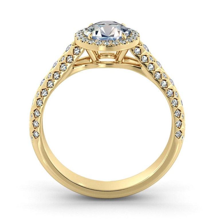 Art Deco 2.50 Carat GIA Round Diamond Ring, 18 Karat Yellow Gold Vintage Halo Ring For Sale