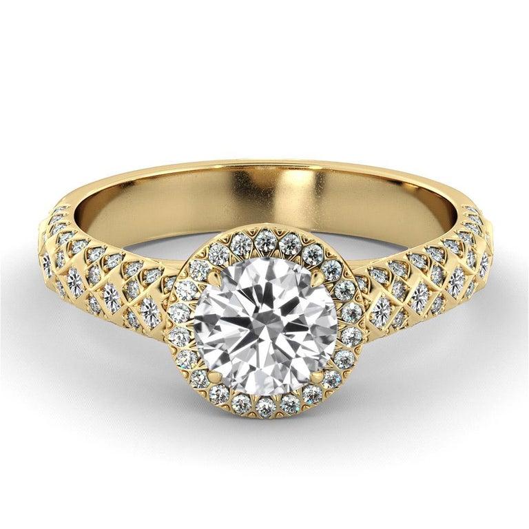 Round Cut 2.50 Carat GIA Round Diamond Ring, 18 Karat Yellow Gold Vintage Halo Ring For Sale