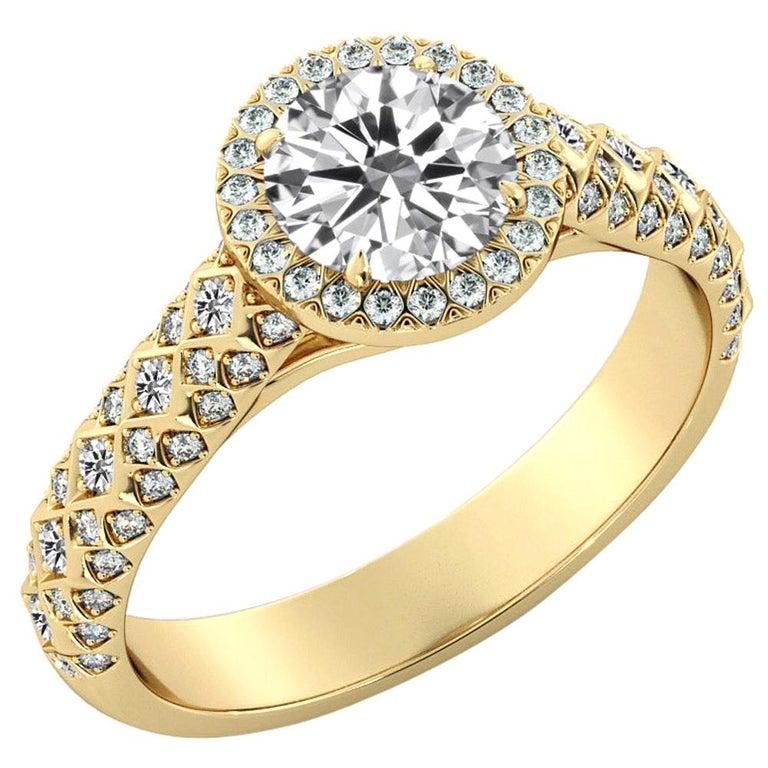 2.50 Carat GIA Round Diamond Ring, 18 Karat Yellow Gold Vintage Halo Ring For Sale