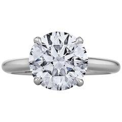 2.55 Carat Ideal Cut Round Brilliant Diamond Platinum Engagement Ring