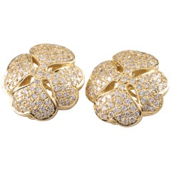 2.50 Carat Large Four Leaf Clover Pave Diamond Earrings in 14 Karat Yellow Gold