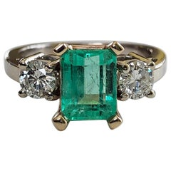 2.50 Carat Natural Colombian Emerald Diamond Engagement Ring 14 Karat