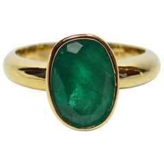 2.50 Carat Natural Colombian Emerald Solitaire Engagement Ring 18 Karat Gold