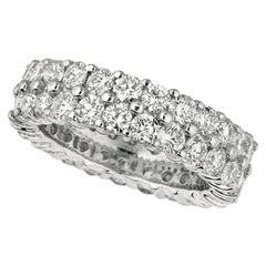 2.50 Carat Natural Diamond 2-Row Eternity Ring Band G SI 18 Karat White Gold