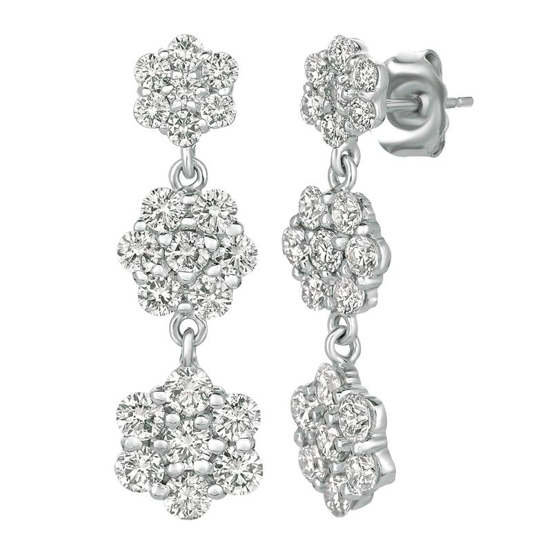 2.50 Carat Natural Diamond Flower Drop Earrings G SI 14 Karat White Gold