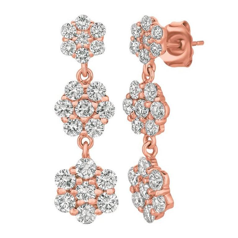Contemporary 2.50 Carat Natural Diamond Flower Drop Earrings G SI 14 Karat Yellow Gold For Sale