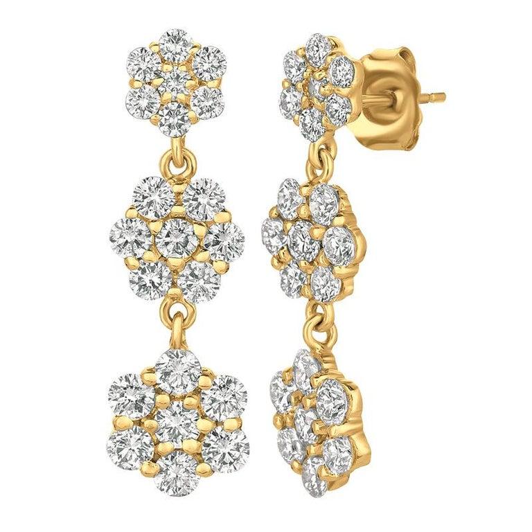 2.50 Carat Natural Diamond Flower Drop Earrings G SI 14 Karat Yellow Gold For Sale