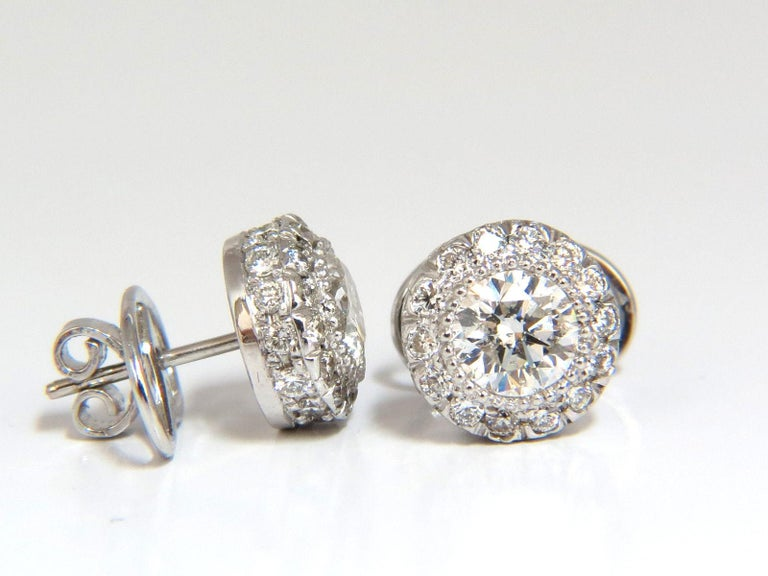 2.50 Carat Natural Diamonds Halo Stud Earrings and Profile Encrusted 14 Karat In New Condition For Sale In New York, NY