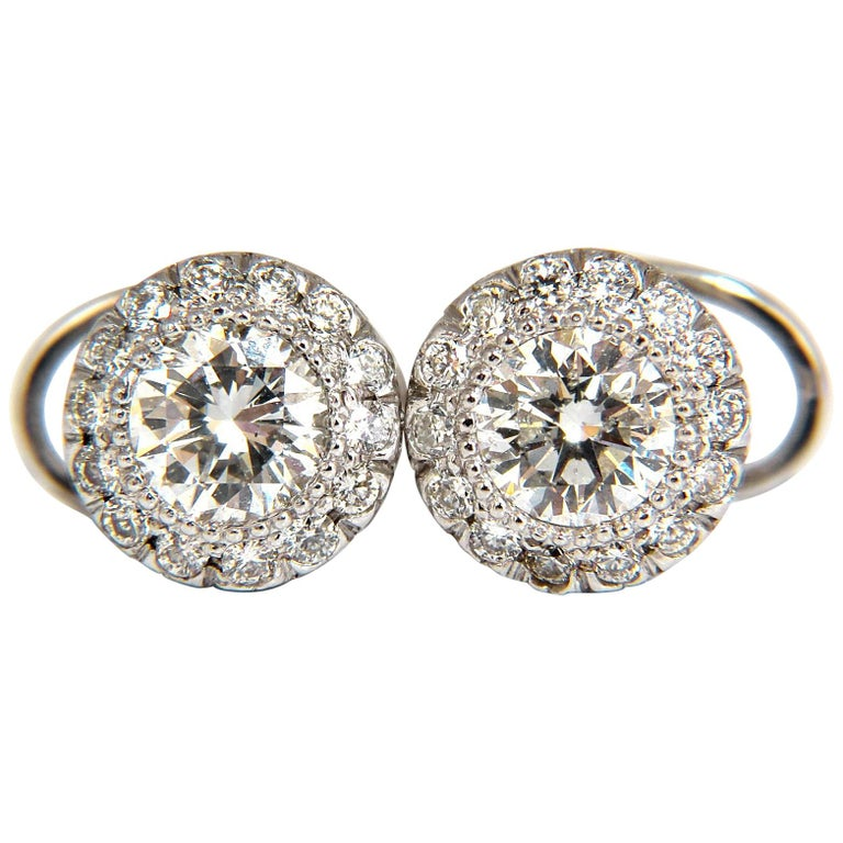 2.50 Carat Natural Diamonds Halo Stud Earrings and Profile Encrusted 14 Karat For Sale