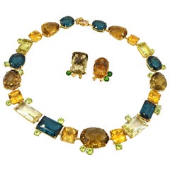 250 Carat Necklace Earrings Set Gold Topaz Citrine Quartz Peridot Tsavorite Sapp