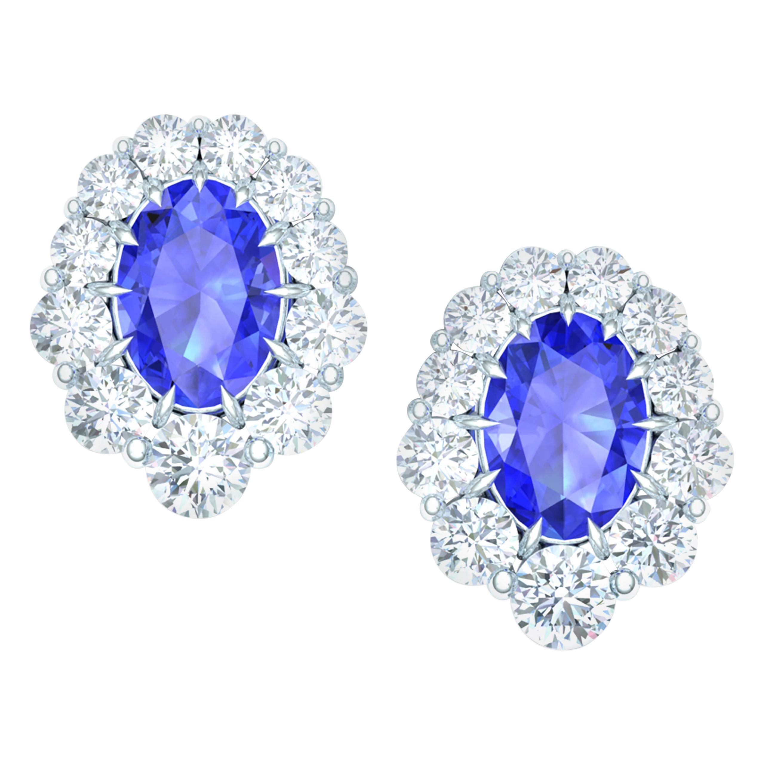 2.50 Carat of Sapphire and Diamond Earrings