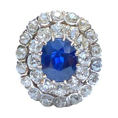 2.50 Carat Oval Cut Burma Sapphire and Diamond Victorian Era Platinum Ring
