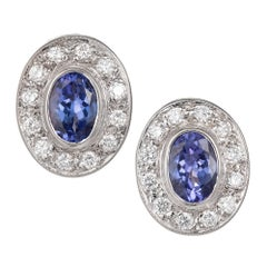 2.50 Carat Oval Purple Blue Tanzanite Pave Diamond Halo Gold Clip Earrings