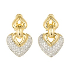 2.50 Carat Pave Diamond Two-Tone Gold Shield Shape Dangle Earrings