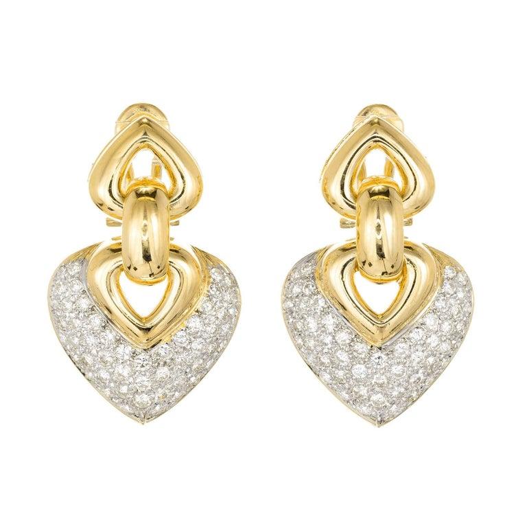 2.50 Carat Pave Diamond Two Tone Gold Shield Shape Dangle Earrings