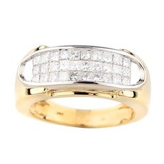 2.50 Carat Princess Cut Plaque Ring in Yellow Gold