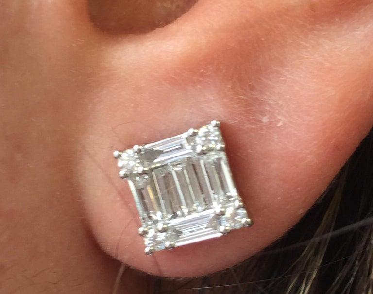 Modern 2.50 Carat Princess Diamond Earrings For Sale