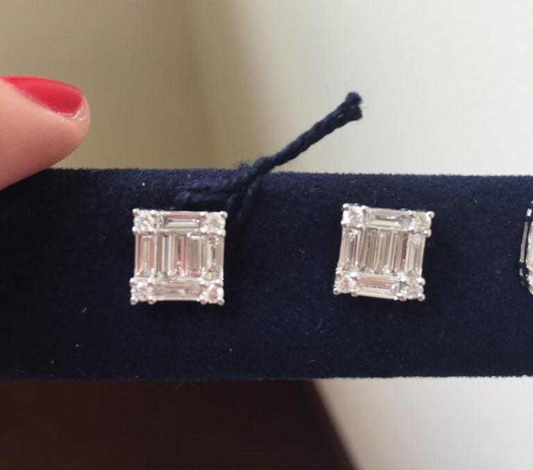 Baguette Cut 2.50 Carat Princess Diamond Earrings For Sale
