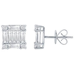 2.50 Carat Princess Diamond Earrings