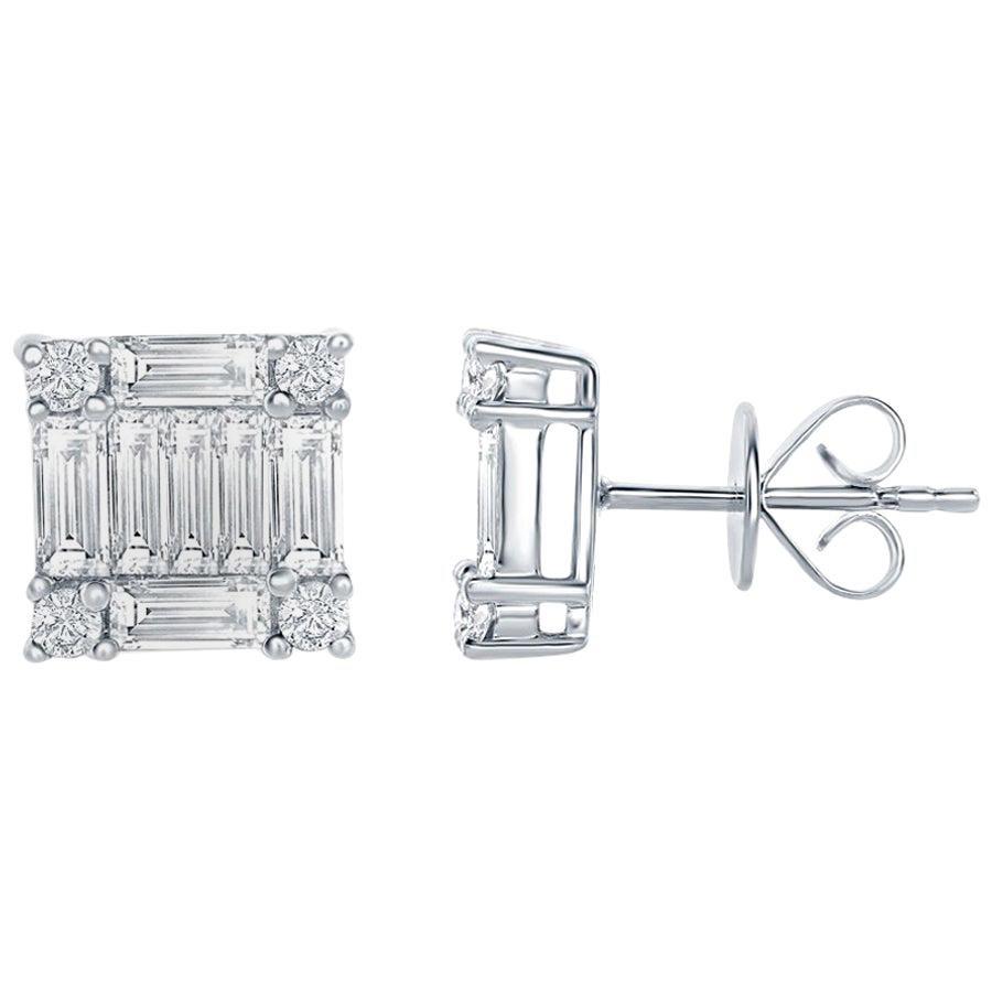 2.50 Carat Princess Diamond Earrings