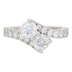 2.50 Carat Round Brilliant Diamond Ever Us Ring, 14 Karat White Gold Bypass