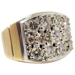2.50 Carat Round Brilliant Pave Diamond Wide Band Ring 14 Karat Gold VS1-VS2