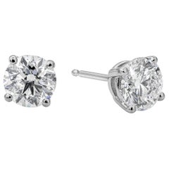 2.50 Carat Round Diamond Stud Earrings in 14 Karat White Gold