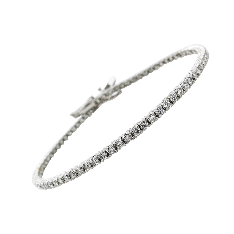 2.50 Carat Round Diamond Tennis Bracelet in White Gold