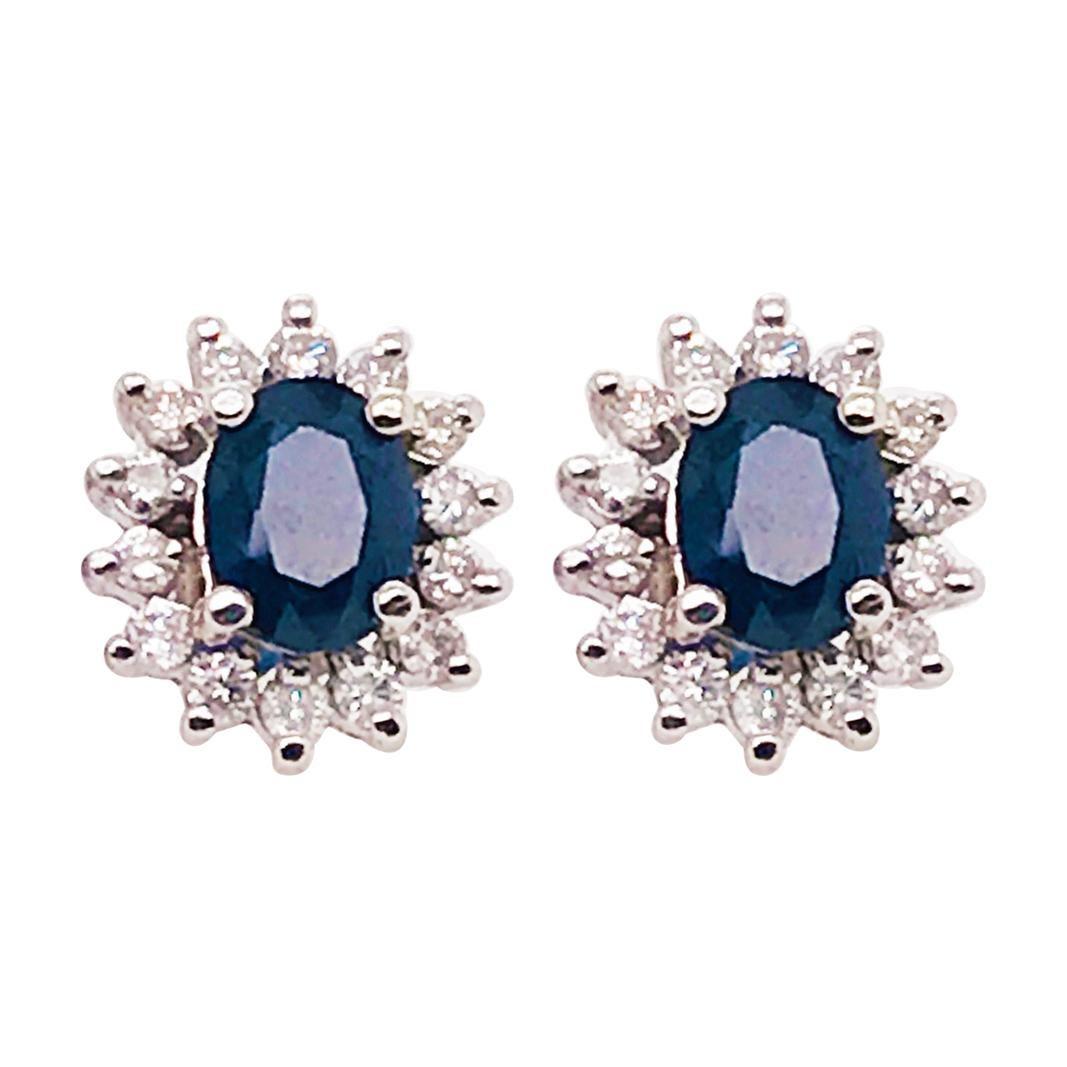 2.50 Carat Sapphire and .75 Carat Diamond Earring Studs in 14 Karat White Gold